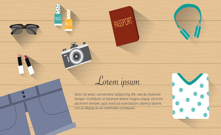 lip stick: Female travel with  sunglasses  ,lip stick, nail polish,headphone,camera,short jeans and blouse passport for travel plan banner flat lay vector. illustration