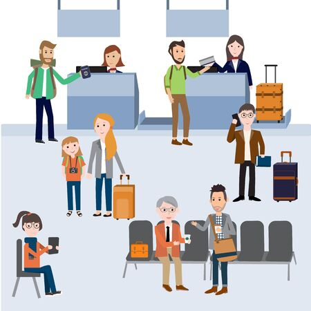 passengers: passengers Check in and waiting at the departure terminal in the airport  vector. illustration