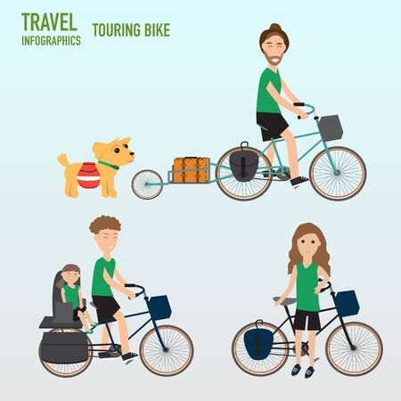 father daughter: Travel infographics.Hipster Tourist and family  father daughter mother with touring bicycle  vector. illustration