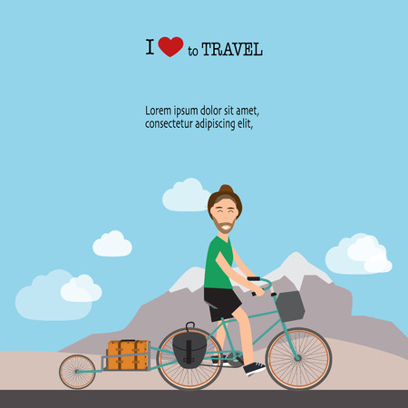 baggage: Travel infographics.Hipster Tourist with touring bicycle vector. Illustration