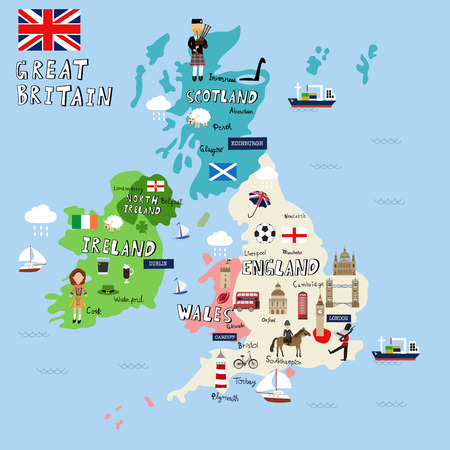 Great Britain picture Map  vector illustration