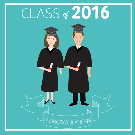graduated: Congratulations class 2016 graduated with deploma,bachelor,master,philosophy degree vector. illustration EPS 10.