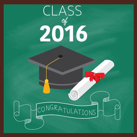 master degree: Congratulations class 2016 graduated with deploma,bachelor,master,philosophy degree vector. Illustration