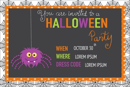 Halloween party invitation cards spider web background with halloween party invitation cards spider web background with hand lettering text vector stopboris Choice Image
