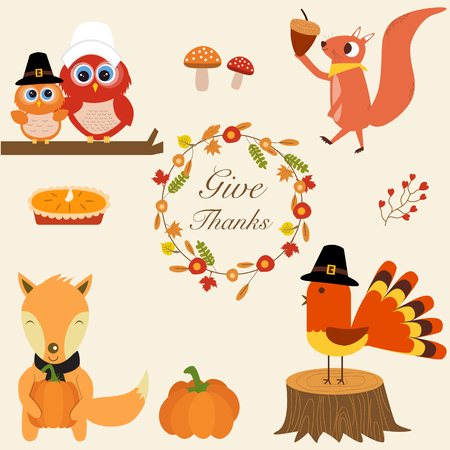thanks giving: The little fox  holding ,turkey chicken,pumpkins, pie,owls,squirrelwith Thanks giving flower wreath  vector.illustration EPS 10.