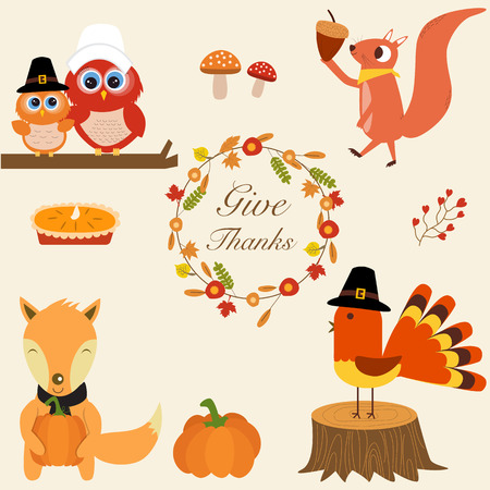 thanks giving: Fox,turkey chicken,pumpkins, pie,owls,squirrel with Thanks giving flowers wreath  vector.illustration EPS 10.