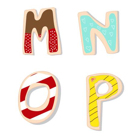 영어 문자 MNOP 핸드 레터링은 수제 쿠키를 장식. 그림 10 EPS.
