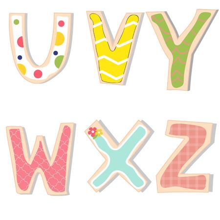 영어 문자 UVWXYZ 핸드 레터링은 수제 쿠키를 장식. 그림 10 EPS.
