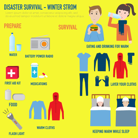 disaster preparedness: Disaster Survival - Winter strom infographics elements.illustrator EPS10.