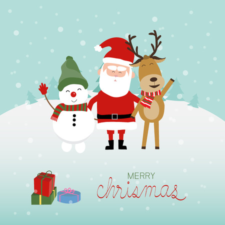 snow man: Merry christmas santa claus snow man and reindeer vector. illustration EPS10.