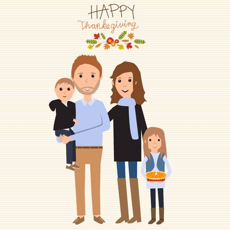 Happy Thanks giving family with father  mother son daughter autumn suits vector.