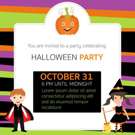 De Halloween tarjetas de invitación de la fiesta de brujas, personajes vampiro vector. EPS10 ilustración. Foto de archivo - 66713314