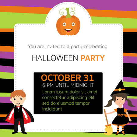 Halloween party invitation cards witch, vampire characters vector. illustration EPS10.