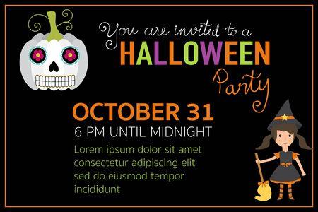 Personajes muchacha tarjetas de invitación de la fiesta de Halloween con la bruja del vector letras de la mano. EPS10 ilustración. Foto de archivo - 66713316