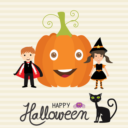 Halloween party invitation cards  background   with hand lettering text vector. illustration EPS10. Illusztráció