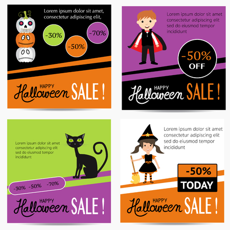 Halloween sale banner with vector.  illustration EPS10..