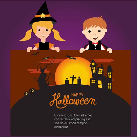 Happy Halloween background  with cute little vampire and witch  vector. illustration EPS10.