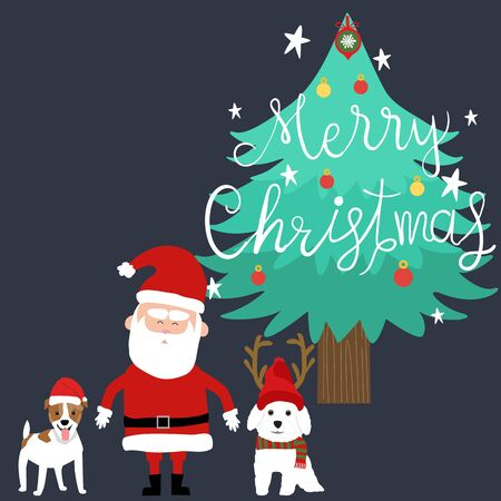 Merry Christmas Santa claus and dogs vector.