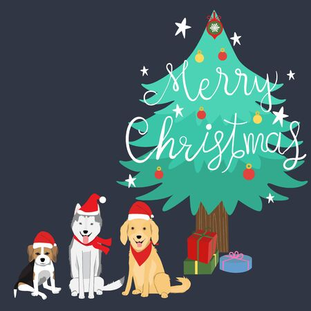 Merry Christmas beagles,syberian husky,golden retriver dogs vector.