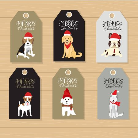 Merry Christmas gifts tags  hand lettering  set for winter holidays vector.