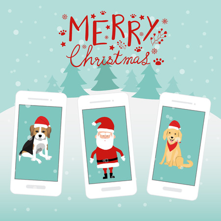 Merry Christmas santa claus dogs Begle Golden Retriever on the smartphone hand lettering vector. Illusztráció