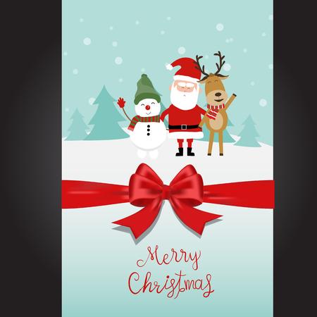 Merry Christmas santa claus snow man and reindeer hand lettering vector. Illusztráció