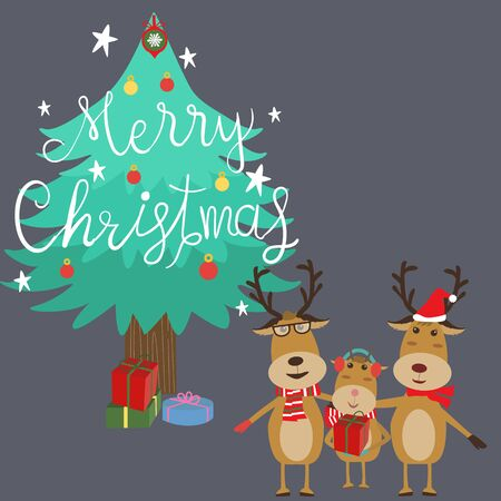 Merry Christmas reindeers family father daughter mother hand lettering vector .