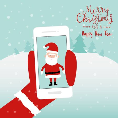 Merry Christmas santa claus holding the smartphone hand lettering vector.