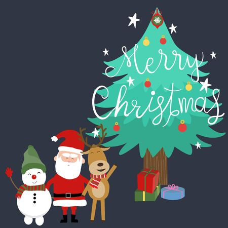 Merry christmas santa claus snow man and reindeer hand lettering vector.