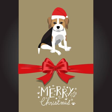 Merry christmas Beagle dogs in the red hat hand lettering vector.
