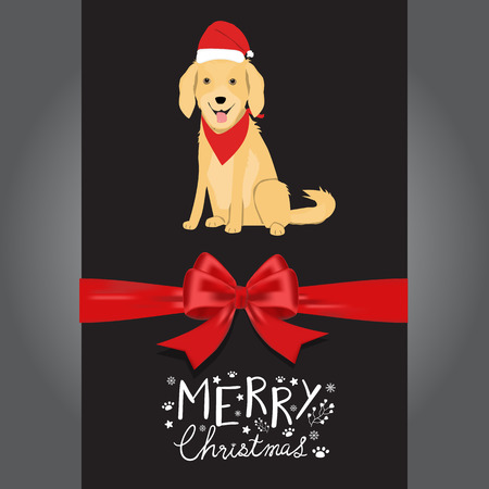 Merry christmas Golden Retreiver dogs in the red hat hand lettering vector.