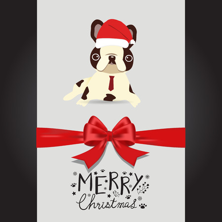 Merry christmas Pug dogs in the red hat hand lettering vector. Illusztráció