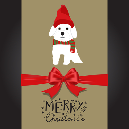 Merry christmas white dogs in the red hat hand lettering vector.