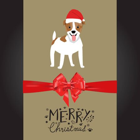 Merry christmas Jack Rusell dogs in the red hat hand lettering vector. Illusztráció