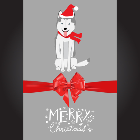 Merry christmas syberian husky dogs in the red hat hand lettering vector. Illusztráció