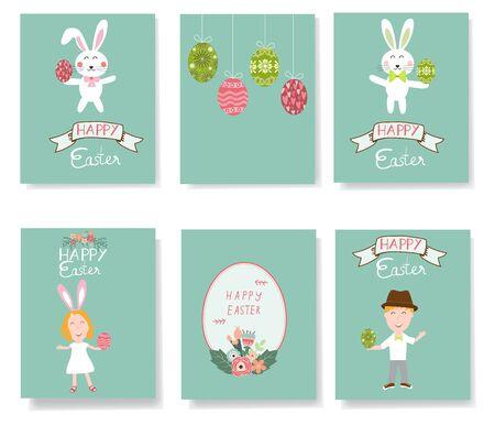 Happy Easter postcard  with kids and rabbits vector illustration . Illusztráció