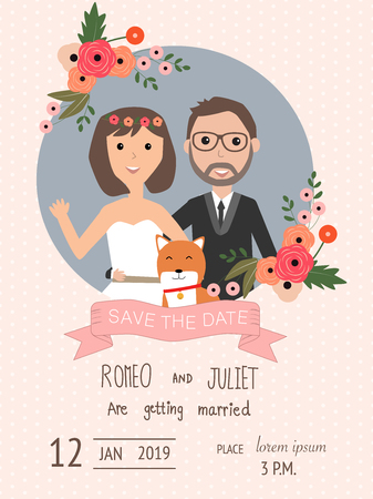 wedding invitation cards with bride and groom and their dog pet. vintage style.