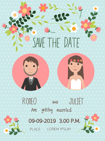 wedding invitation cards with bride and groom. vintage style.save the date banner.