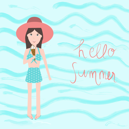 The teenage Girls in Swim suit with ice cream with water color
