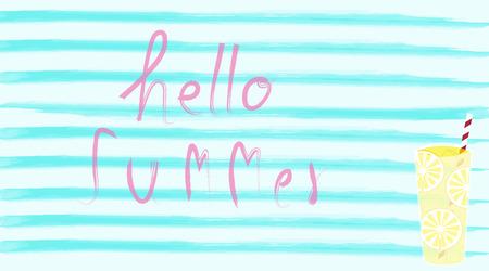 Hello summer with lemonade juice with water color backdrop Illusztráció