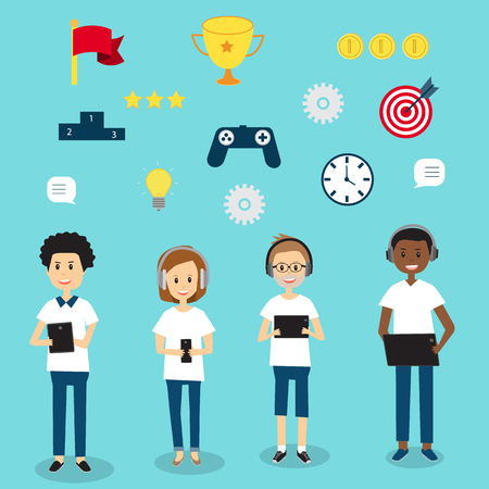 People in Generation Z  with mobile education gamification technology .illustration EPS 10.