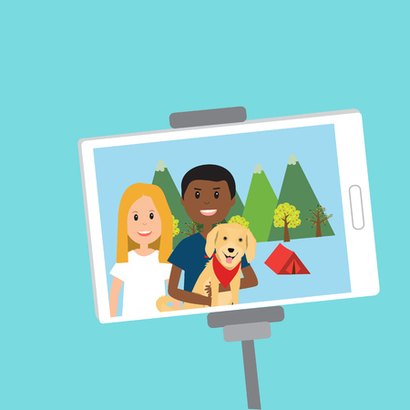 People in Generation Z selfie for camping with the dog .illustration EPS 10.
