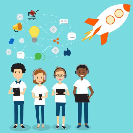 People in Generation Z team for start up business .illustration EPS 10. Illusztráció