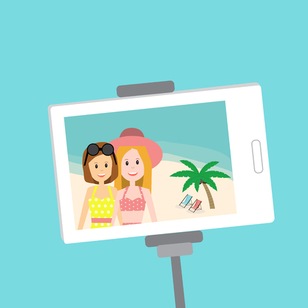 People in Generation Z selfie in swimimg suit for summer time at the beach .illustration EPS 10.