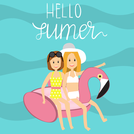 The teenage Girls in Swimsuit on inflatable giant pool float with hello summer  Vector. Illustration. EPS10.