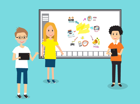 People in Generation Z  with smart board for education technology .illustration EPS 10.