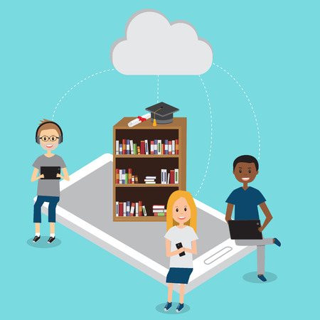 People in Generation Z  with mobile education cloud technology .illustration EPS 10.