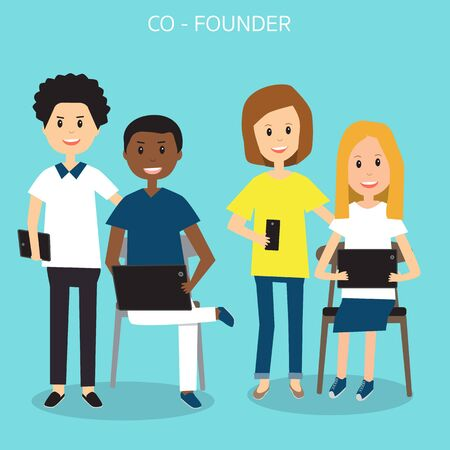 People in Generation Z with co founder business start up team illustration