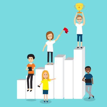People in Generation Z team for growth and success in business chart .illustration EPS 10.
