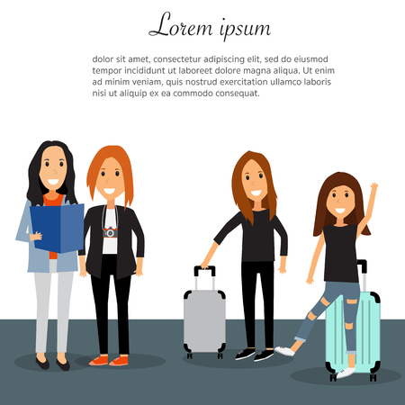 Travel infographics.Hipster women teen Tourist  vector. illustration EPS10. Illusztráció